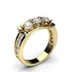 Yellow Gold Three Stone Diamond Rings
