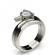 3 Prong Setting Plain Engagement Ring With Matching Band