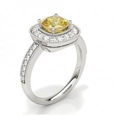 4 Prong Yellow Diamond Halo Engagement Ring