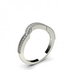 Alliance courbée profil court confort diamant rond serti invisible