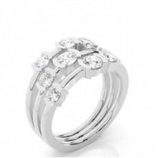 Bague 3 pierres diamant marquise/rond serti 2 griffes et 4 griffes
