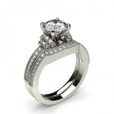 4 Prong Setting Studded Engagement Ring With Matching Band