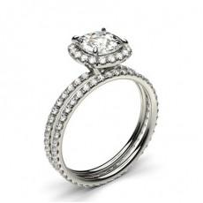 White Gold Cushion Bridal Set Diamond Engagement Ring