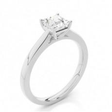 4 Prong Setting Princess Diamond Plain Engagement Ring