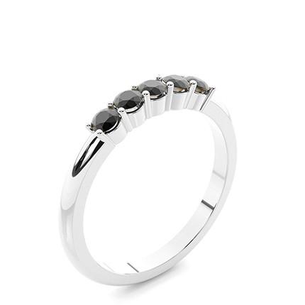 4 Prong Inställning Fem Stone Black Diamond Ring