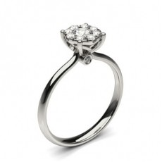 Anillo De Compromiso De Diamantes En Racimo Con Ajuste De Presión
