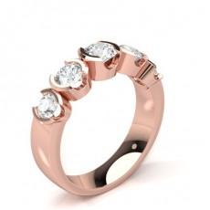 Or Rose 5 Pierres Bague Diamant