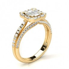 Yellow Gold Engagement Cluster Rings