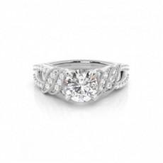 4 Prong Setting Round Diamond Side Stone Engagement Ring