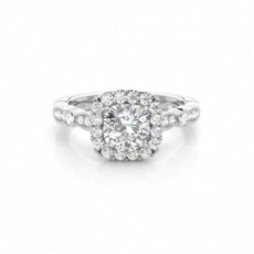 4 Prong Setting Cushion Diamond Halo Diamond Engagement Ring