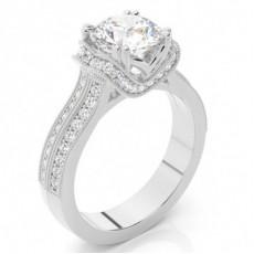 Anillo De Compromiso De Diamantes Redondos Con 4 Clavijas