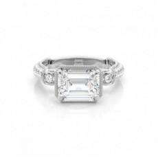 4 Prong Setting Emerald Diamond Engagement Ring