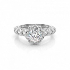 4 Prong Setting Round Diamond Halo Diamond Engagement Ring