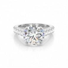 Double Prong Setting Round Diamond Engagement Ring