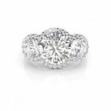 Prong Setting Round Diamond Three Stone Engagement Ring