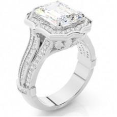 Anillo De Compromiso De Oro Blanco Con Halo De Diamantes