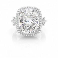 4 Prong Setting Cushion Diamond Halo Engagement Ring