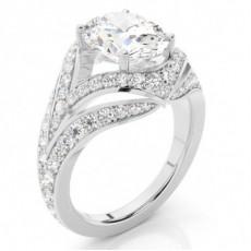 Anillo De Compromiso De Diamantes Ovalados Con 4 Clavijas