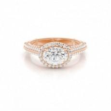 4 Prong Setting Oval Diamond Halo Engagement Ring