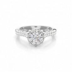 8 Prong Setting Round Diamond Halo Engagement Ring