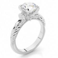 Anillo De Compromiso De Oro Blanco Con Diamantes Redondos