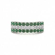 4 Prong Emerald Half Eternity Ring