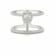 Bague Fantaisie Diamant Ovale serti Pavé