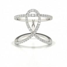 Bague de fiançailles designer diamant rond serti pavé