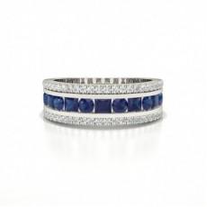 Runde Und Prinzessin Halbe Ewigkeit Blue Sapphire Ring