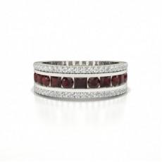 Runder Und Prinzessin Half Eternity Ruby Ring
