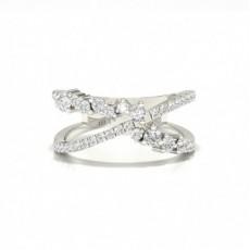 Bague fantaisie diamant rond serti pavé en 0.68ct