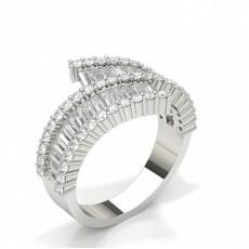 Bague fantaisie baguette sertie de diamants