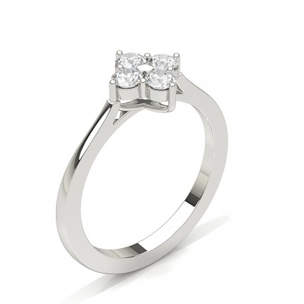 Round Diamond Prong Setting Cluster Ring