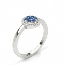 Prong Setting Blue Sapphire Cluster Ring