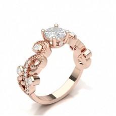 Round Side Stone Diamond Verlobungsring