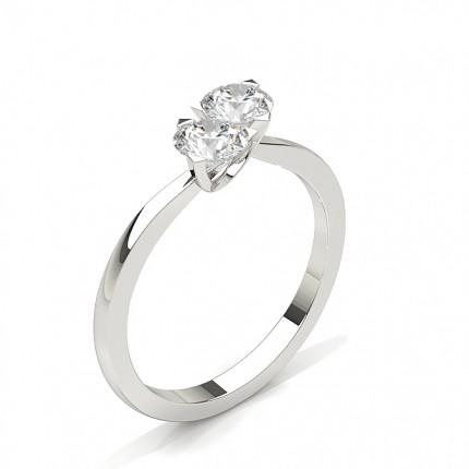 Prong Setting Plain Two Stone Ring