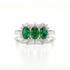 4 Prong Setting Oval Three Stone Emerald Ring