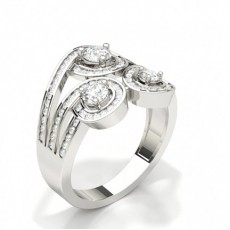 Bague fantaisie diamant rond serti 3 griffes