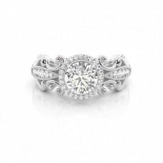 4 Prong Setting Round Diamond Halo Engagement Ring