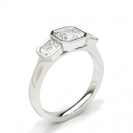 Bezelfattad Asscher Trilogi Diamant Förlovningsring
