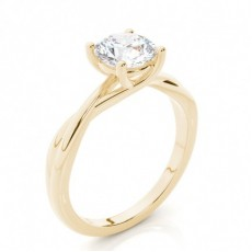 Gult Gull Solitaire Diamantringer