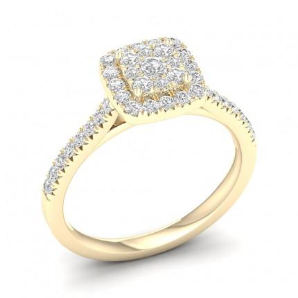 Bague en grappe de diamants ronds serti micro-pavé
