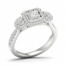 Mikro Pavé Innfatning Rund Diamant Trilogi Ring