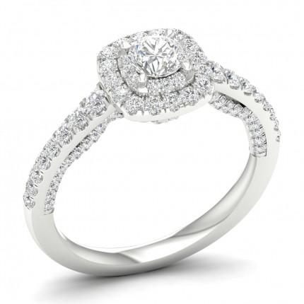 Halo-Ring mit rundem Diamant in Mikropavéfassung
