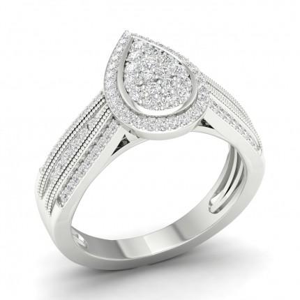 Bague en grappe de diamants ronds serti canal