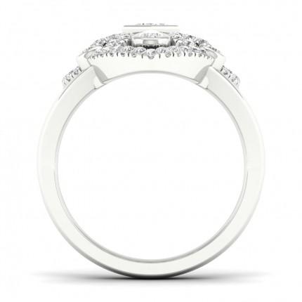 Anillo De Moda Con Diamantes De Princesa Con Engaste De Bisel Completo