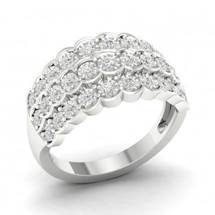 Bague fantaisie diamant rond serti illusion