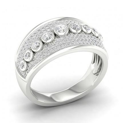 Anillo De Moda De Diamantes Redondos Con Engaste De Bisel Completo