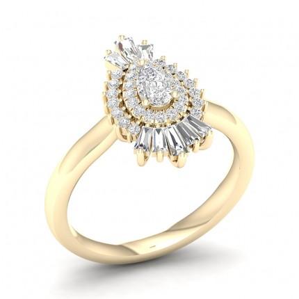 Bague halo de diamants poire serti griffes