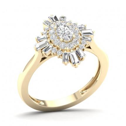 Prong Setting Oval Diamond Halo Ring
